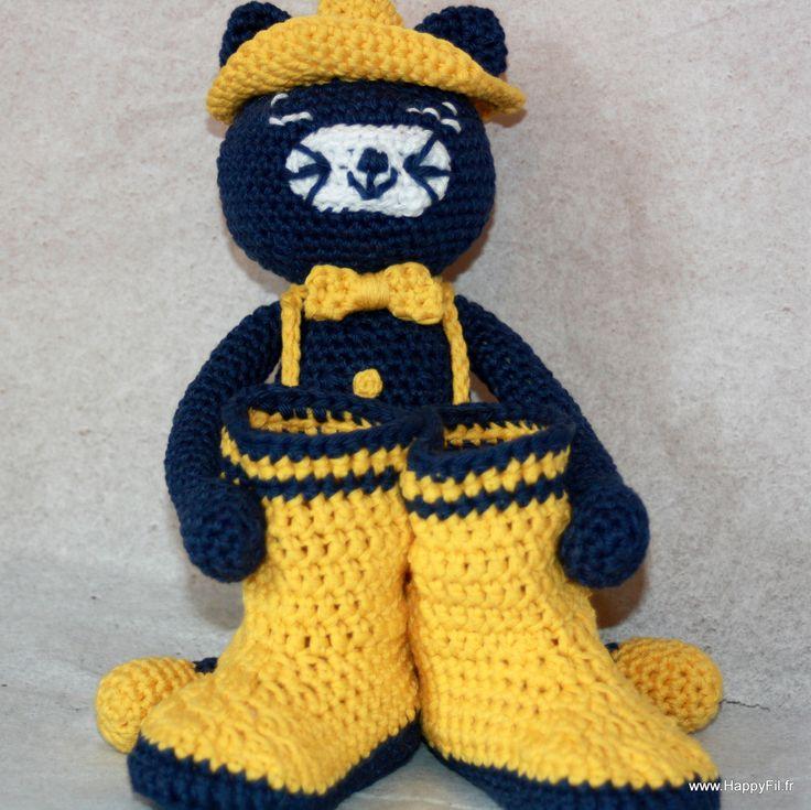 """Coffret cadeau doudou chat + botte type """"botte de pluie"""" en coton au crochet : Jeux, peluches, doudous par happyfil"""