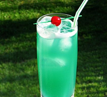 Liquid Marijuana - .75 oz. Malibu Coconut Rum, .75 oz. Light Rum, .75 oz. Blue Curacao, .75 oz. Apple Pucker, 2 oz. Pineapple Juice, 2oz. Sweet & Sour Mix Cherry to garnish. Pour all ingredients into an ice filled cocktail shaker and shake well. Pour into a Collins glass and garnish.