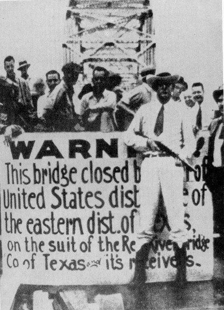 "The Red River Bridge War (Texas v. Oklahoma).  Life Magazine's picture of the ""Red River Bridge War,"" showing the Durant-Denison ""free bridge,"""