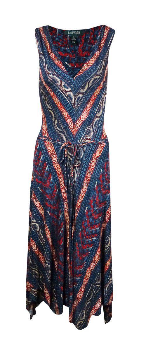 Lauren Ralph Lauren Women's Handkerchief-Hem Belted Dress