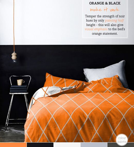 Black and orange bedroom decor