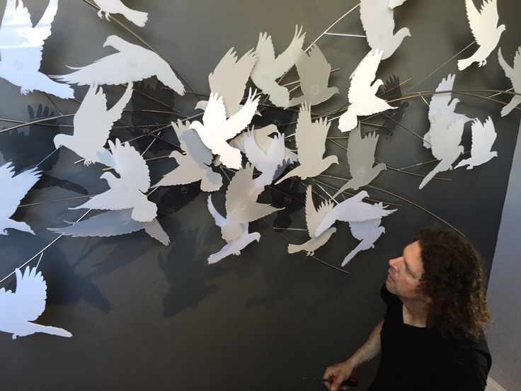 Andre Stead Installation of 'Scattering Doves' (3/4)