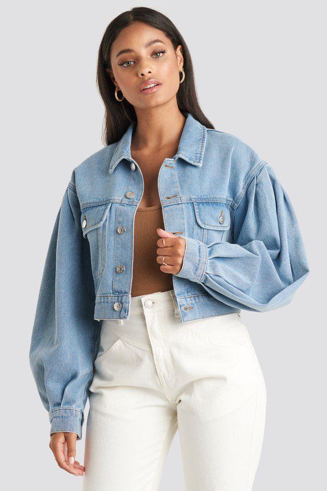 Puff Sleeve Oversized Denim Jacket Blue In 2020 Denim Jacket Trend Cropped Denim Jacket Outfit Oversized Denim Jacket