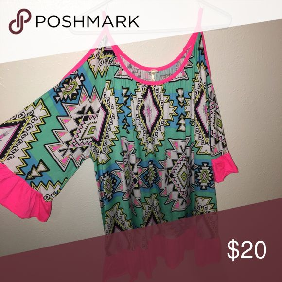 Off the shoulder Blouse Large Aztec Blouse, shoulder shows, flowly and silky. Fits bigger than normal. lilypad Tops Blouses