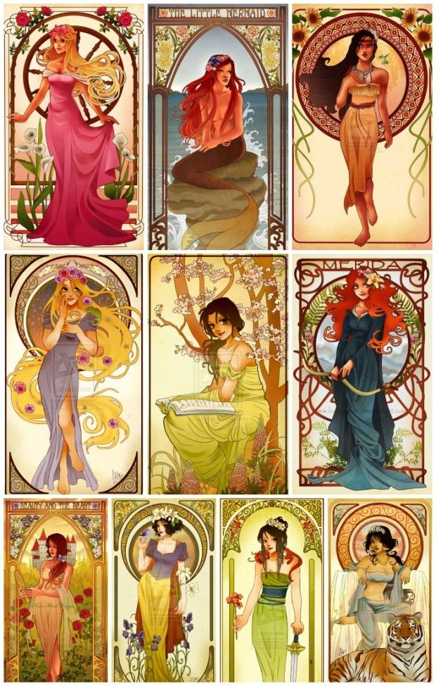 Disney Characters Princesses Art Nouveau Illustrations Hannah A aurora sleeping beauty arielle the little mermaid pocahontas rapunzel tangled belle beauty and the beast merida brave snow white mulan jasmine aladdin