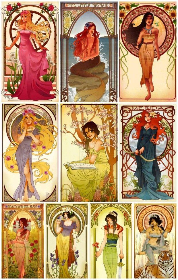 Disney Characters Princesses Art Nouveau Illustrations Hannah A aurora sleeping beauty arielle the little mermaid pocahontas rapunzel tangled belle beauty and the beast merida brave snow white mulan jasmine aladdin