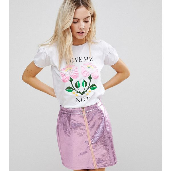 Chorus Petite T-shirt with Sateen Floral Print (£26) ❤ liked on Polyvore featuring tops, t-shirts, petite, white, print tees, crew neck tee, crew t shirt, floral t shirt and floral print tops
