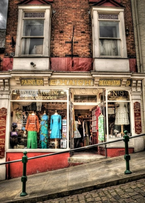 shops like this vintage clothes store and bags of English history