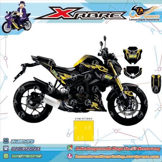 Custom Decal Vinyl Full Body Striping Motor Yamaha Xabre 150 Garansi 6 Bulan Thema Black Yellow Techno Berkualitas By DIGITIVE