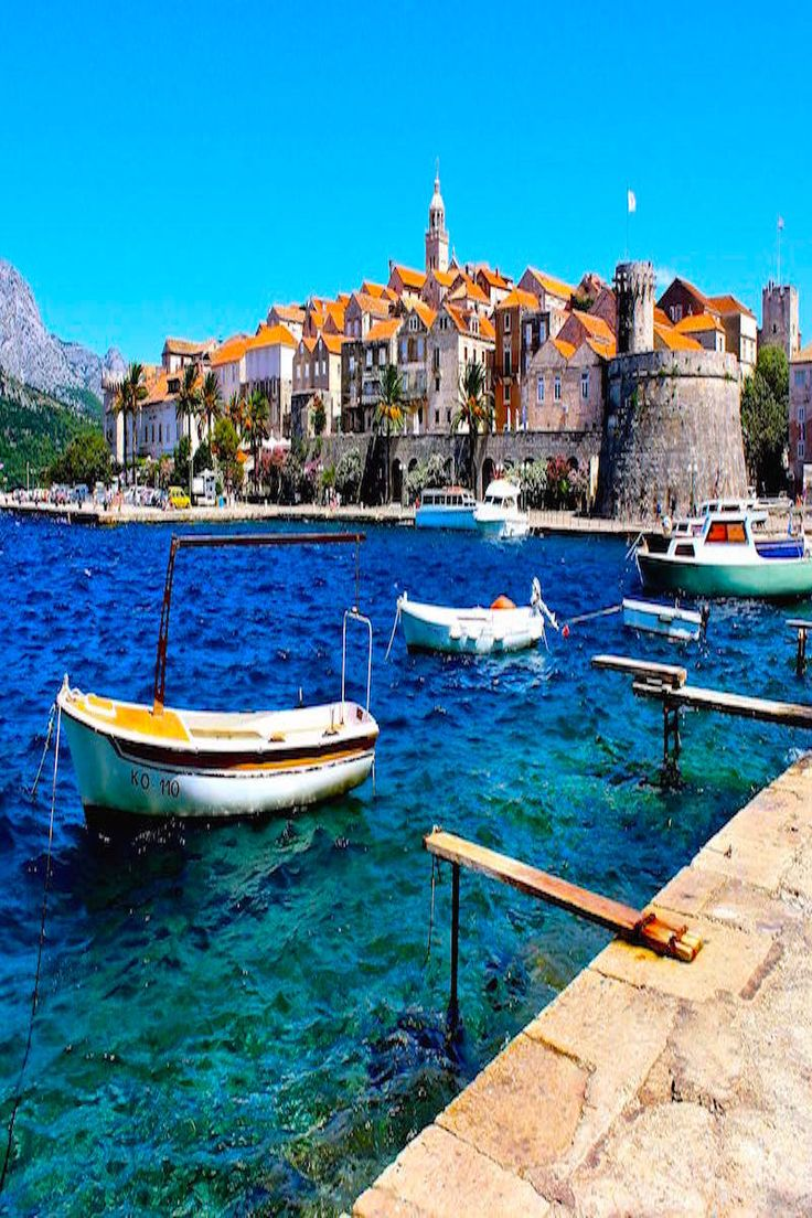 Beautiful blue waters in Korcula Croatia