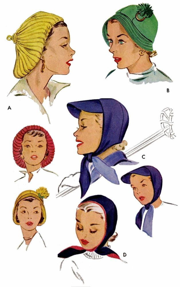 50s Vintage Millinery 3 WOOL JERSEY HATS Cap Fabric Sewing Material Pattern 1816