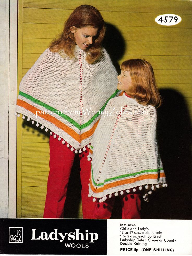 WZ812; a simple crochet poncho in mother and daughter sizes...with  a roll neck ...and bobbles!