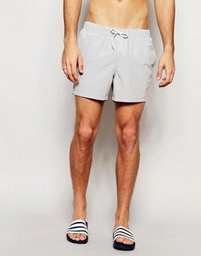 ASOS Swim Shorts In Light Grey Short Length