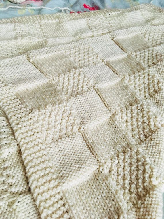 Knitting Pattern All In One Patchwork Blanket Pdf Instant
