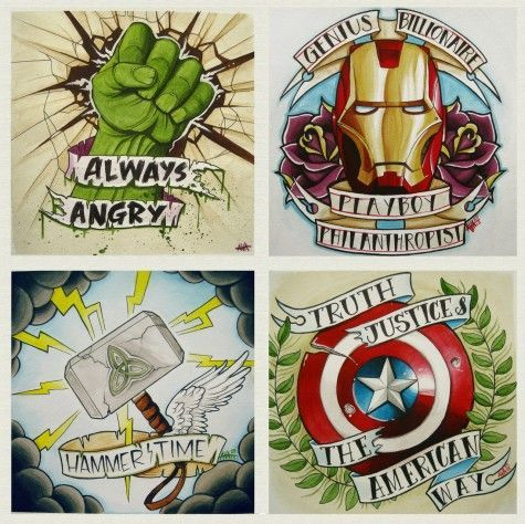 """Avengers, Assemble!"" by Alivia Marie. I love the iron man one because it's the quote from lost boys!!!!"