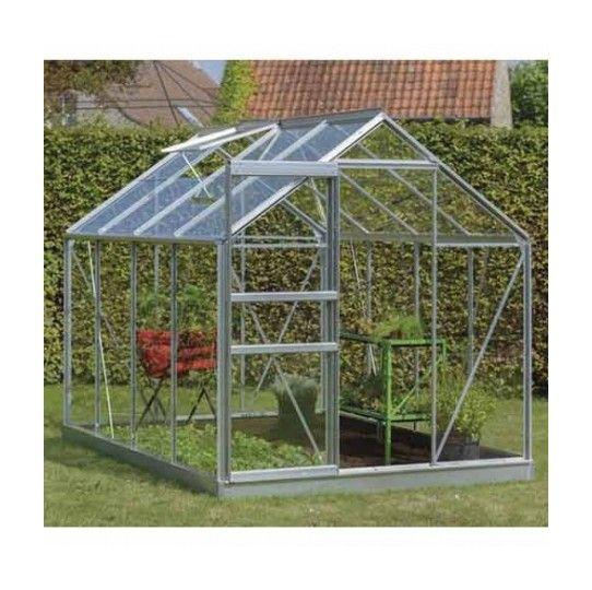 Serre de jardin en verre trempé Ivy – 5m², Couleur Gris, Base Avec base – longueur : 2m57 – ACD