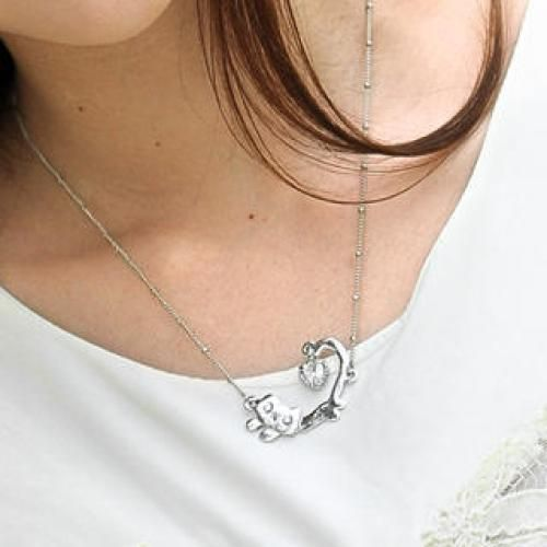 Rhinestone Cat Necklace Silver - One Size