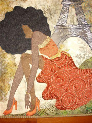 """Black Girls Rock In Paris"" quilt art by Phyllis Stephens  |African American  award-winning fifth generation quilt maker"