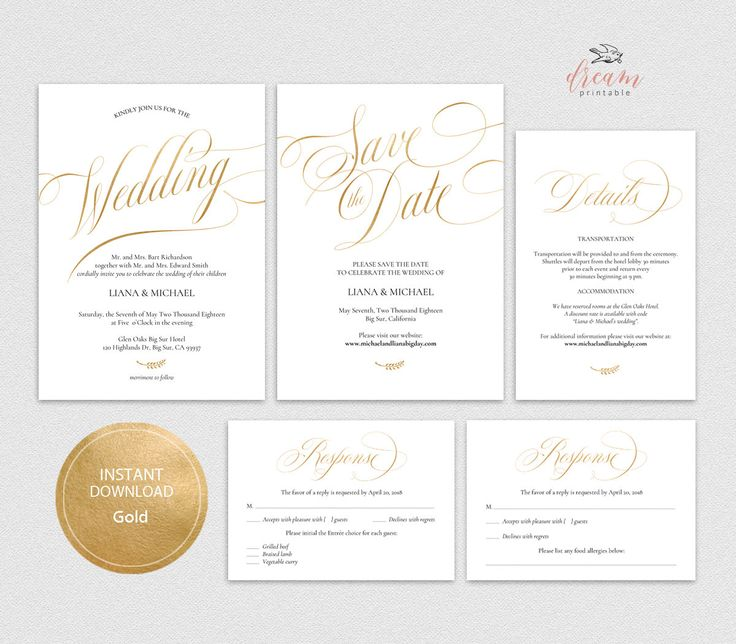 INSTANT DOWNLOAD Editable Pdf Template Set 5x7 Invitation, 4x6 Details, 3.5x5 Reply RSVP, 5x7 Save the date card Wedding Gold #DP230_S1 by DreamPrintable on Etsy #wedding #instant #download #printable #image #graphic #digital #reception_sign #PDF #Template #wedding_ceremony #wedding_sign #Calligraphy #Sign #events #events_design #wedding_printable #wedding_design