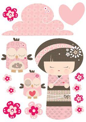 Planche 14 stickers Kokeshi rose