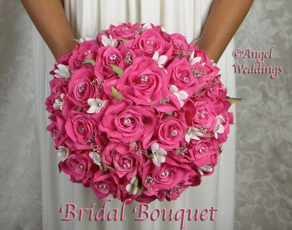 Love ANGELINA FUSCHIA Wedding Bridal Groom Wedding Bouquets Bouquet Silk Flowers Arrangement Custom Corsage Boutonniere Bridesmaids Keepsake
