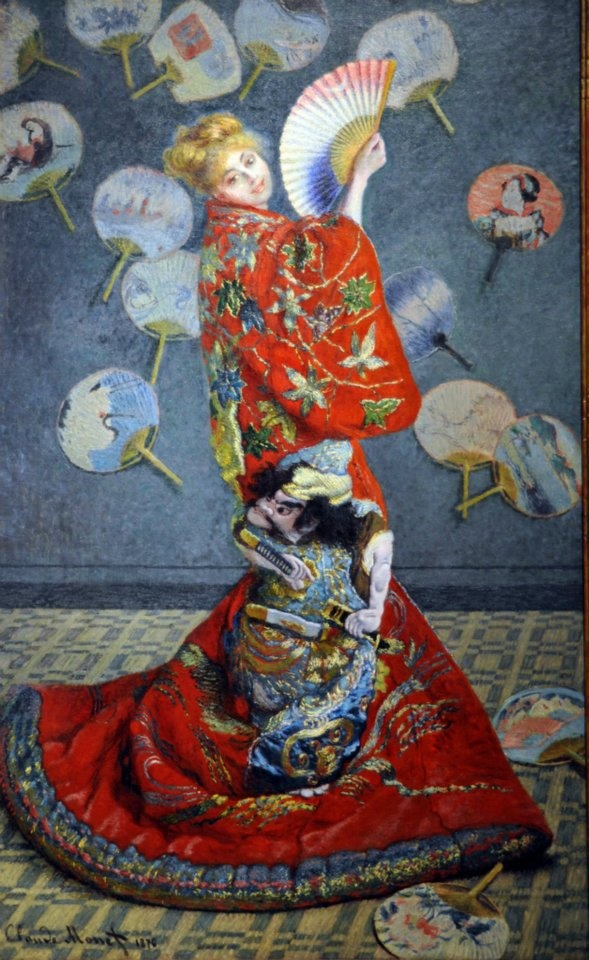 the bright red japanese kimono of camille in la japonaise an oil painting by claude monet Claude monet neeraj parswal prints neeraj parswal amedeo modigliani john singer sargent zelko radic prints zelko radic john william waterhouse  poppy field in argenteuil oil painting claude monet  hand painted oil painting  $9900 check to compare art quick view check to compare art  decorate special spaces with well.