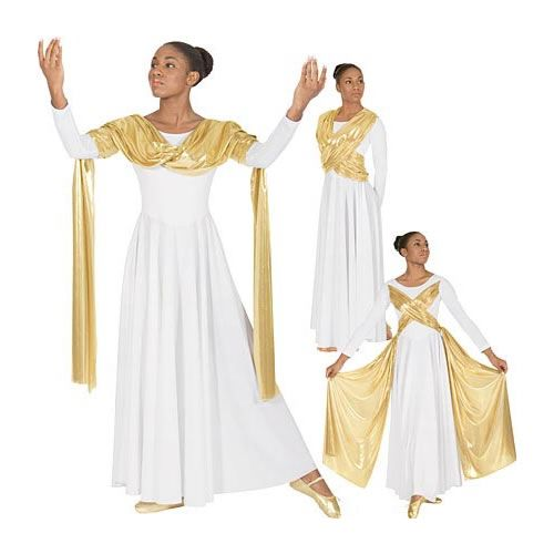 14124 Dance Dress w/attached Metallic Drape/Sash Overlay Save Big on Praise Dance Dresses Shop at My Praise Dance Wear to Get Free Shipping on Liturgical Dresses