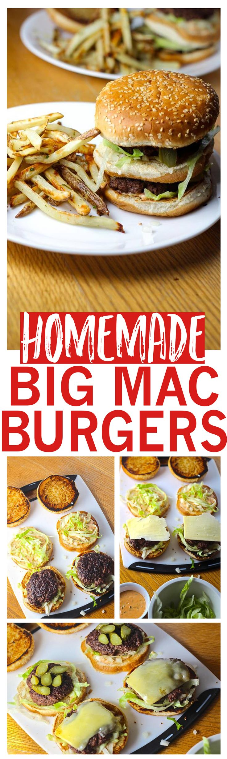 This McDonalds-style Big Mac recipe comes complete with sesame seed buns, juicy hamburger patties, sharp cheddar cheese, pickles and Big Mac sauce!