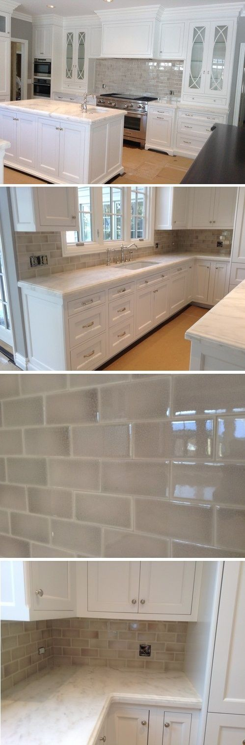 Encore ceramics crackle subway tile in Silver