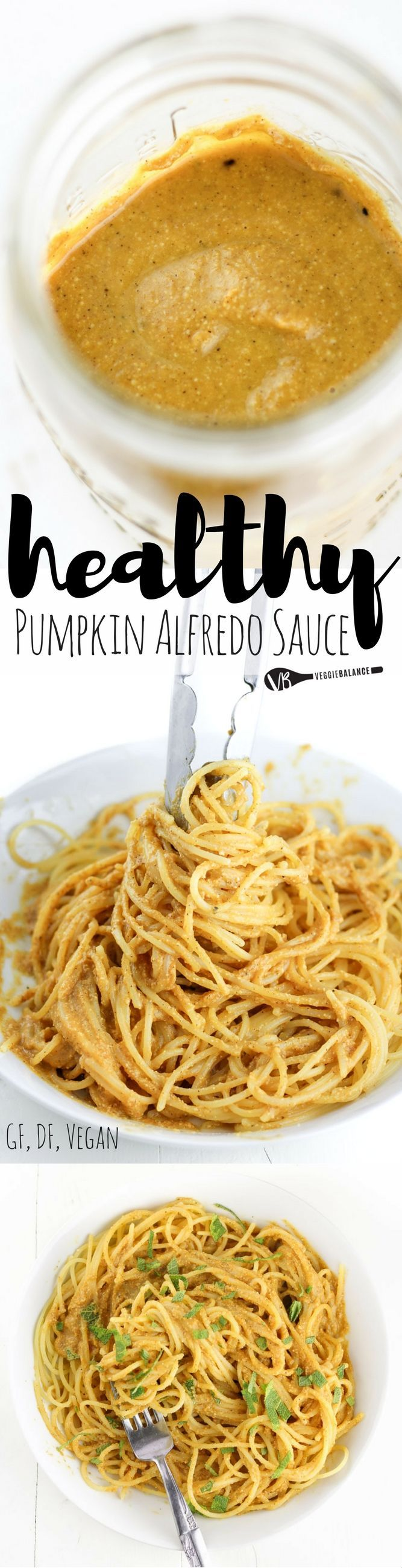 Vegan Pumpkin Alfredo Sauce recipe made with 9-Ingredients including fresh sage from the garden. Made in less than 20 minutes for 100% satisfaction of those pumpkin cravings! #FamilyPastaTime /barillaus/ #ad