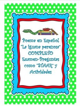 Complete Spanish Poem La Iguana PerezosaCover And STAAR Assessment Scrambled