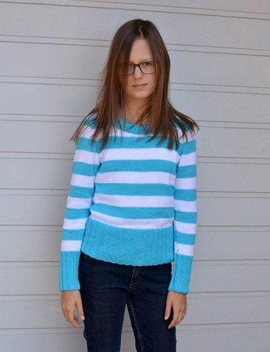 Dievčenský jarný pulóver s pásikmi | PLETENÍ – NÁVODY