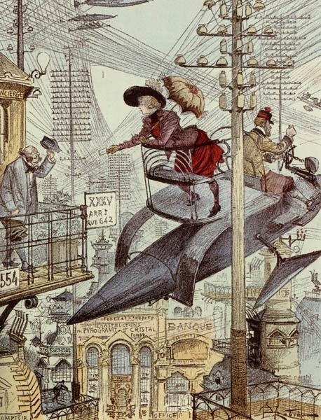 Rare, beautiful retro-future illustration: Victorian Flying Machine!