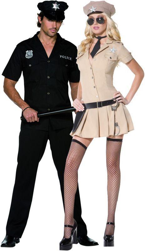 Polizist Und Polizistin Sexy Paar Kostum Schwarz Und Sandfarben