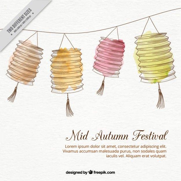 Fondo de decoración de farolillos dibujados a mano para el festival de otoño…