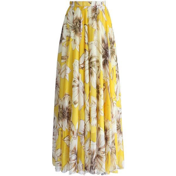 Marvelous Floral Maxi Skirt in Yellow ❤ liked on Polyvore featuring skirts, summer maxi skirts, floor length maxi skirt, maxi skirts, floral cami and floral skirts