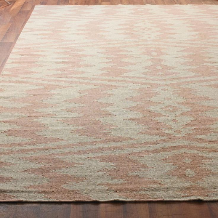 Ikat Stripe Dhurrie Rug In Dusty Pink And Taupe