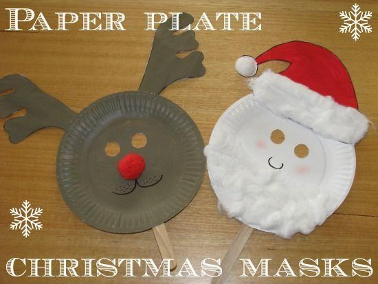 Paper Plate Christmas Masks - free printable reindeer ears and santa hat