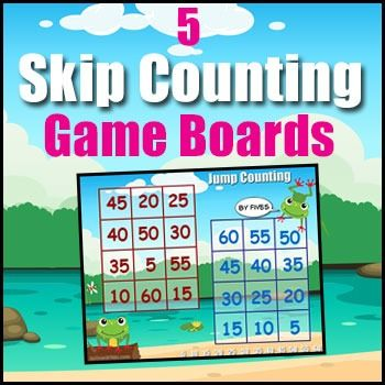 Skip Counting Game - This Skip Counting Game (also known as jump counting) gives students the opportunity to develop and practice skip counting. Skip counting develops number sense, teaches students a more efficient way of counting and is a necessary precursor to performing other mathematical operations.Included in this Download: - High Color Boards for skip counting by: 2s, 3s, 4s, 5s & 10s.- 1 Powerpoint File with all boards displayed for easy classroom discussion.- 1 set of Rules and T...