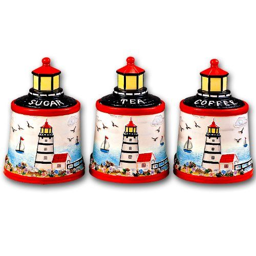 This Three Piece Lighthouse Themed Nautical Kitchen Canister Set Is Just  Perfect For A Kitchen With A Coastal Or Nautical Decor.