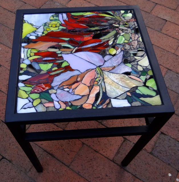 Glass Rhododendron Mosaic On Square Wrought Iron Table. Private Commission.