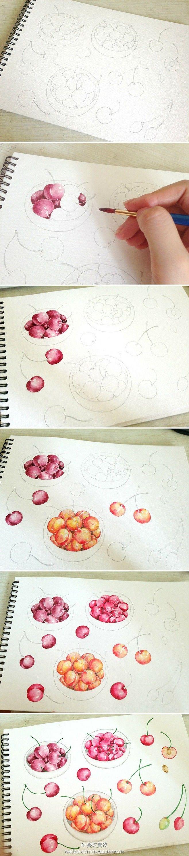 樱桃。算是水彩教程吗。。。@没有不高兴的没头脑采集到我们一起来画画吧~(373图)_花瓣插画