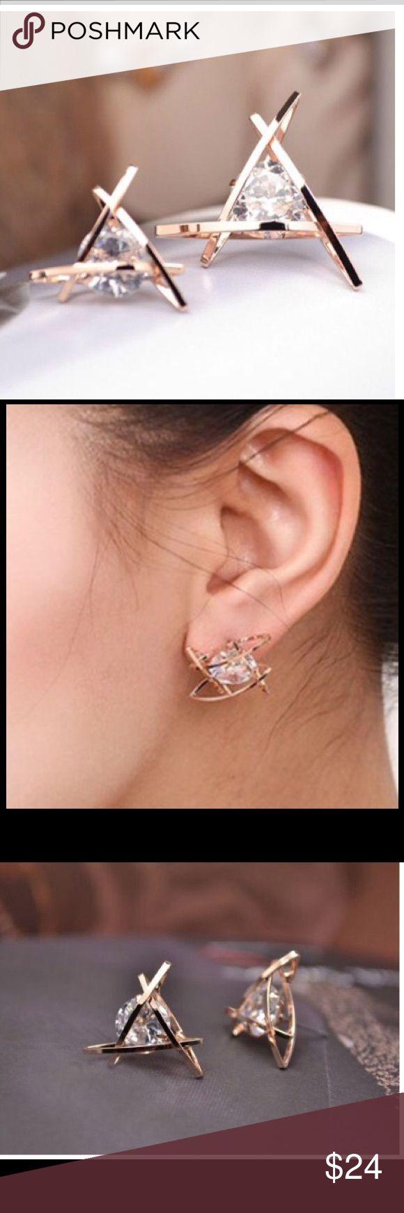 HP best in boutique Swarovski unique earrings rose gold plated swarovsky very uniqueprice is firm ❣unless bundle La belle Jewelry Earrings