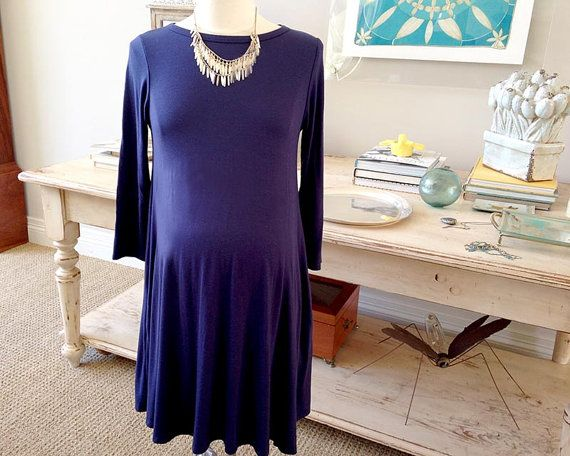Maternity Dress, Navy Blue Maternity Dress, Pregnancy Dress, Maternity Clothes, bump shirt, bump dress, plus size, long sleeve dress, summer