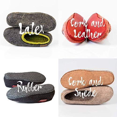 1bda979feeada BureBure Men Wool Clogs Slippers with Natural Edge Leather Hand ...