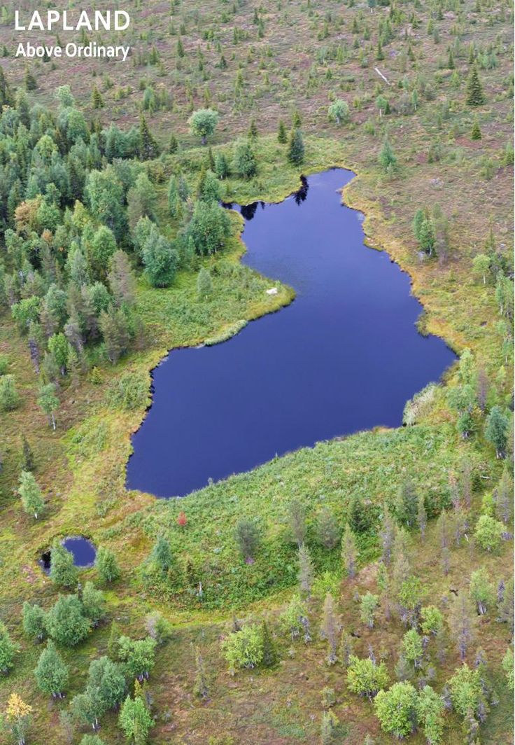 Suomilampi (Finland pond) near Yllästunturi. Does the shape of this lake remind…