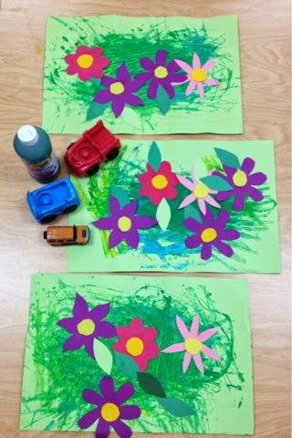Kindergarten/PreK Gardens-Painting toy cars to create grass-Art with Mr. Giannetto Blog