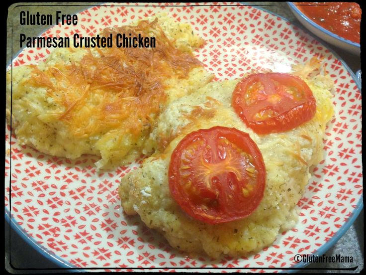 Gluten Free Mama Parmesan Crusted Fried Chicken ~ Mama's puts a twist on the fried chicken, makes it healthier by baking it, and crusts it with Parmesan Cheese for a fun flavor and a taste of Italy. Serve it up with some fresh summer veggies! #glutenfree #familydinner