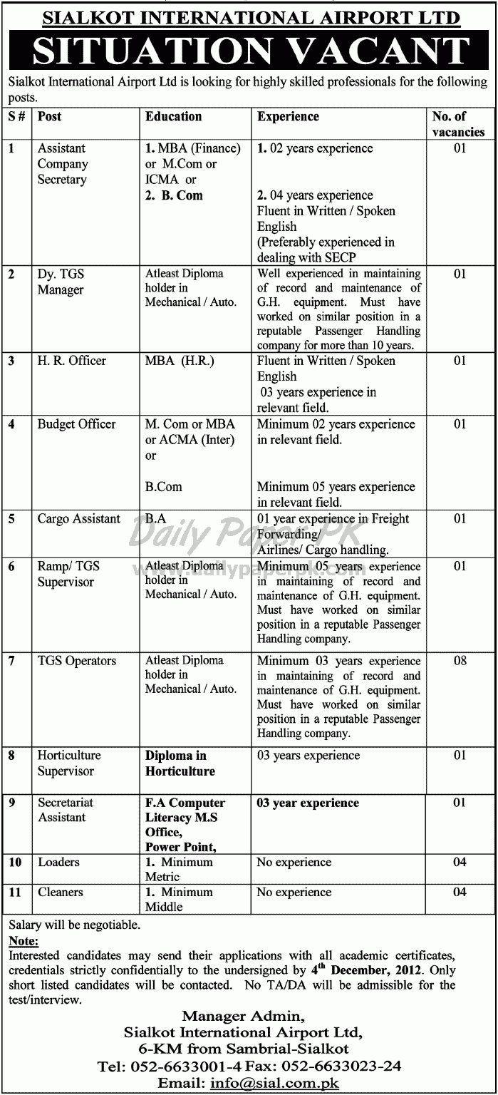 Job Opportunities In Sialkot International Airport Ltd