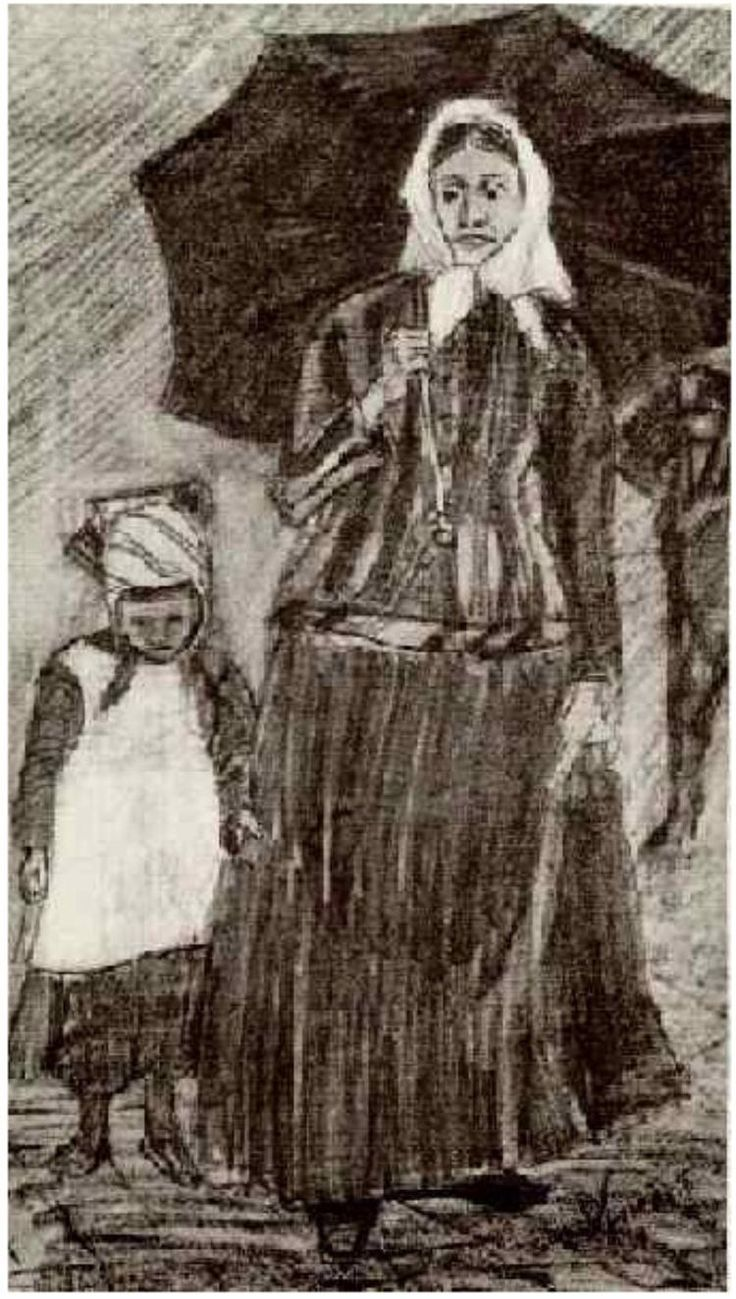 """Love this ~ Vincent van Gogh: """"Sien under Umbrella with Girl"""" Drawing - Pencil, heightened with white The Hague: February, 1882 Location unknown F: 1048, JH: 102"""